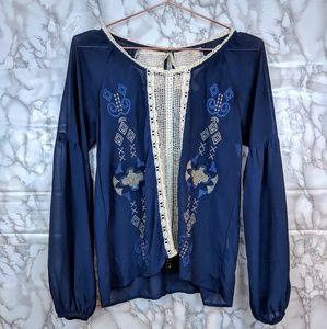 BKE Gimmicks | blue embroidered blouse